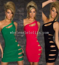 Cut-Out Figure Hugging Halter Club Dress