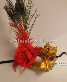 Carnival Glitter Feathered Masquerade Masks with Flower