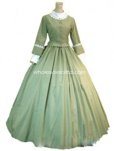 Green Elegant Victorian Day Costume Dress