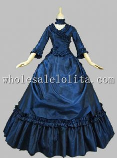 Royal Blue Victorian French Bustle and Swag Dress Ball Gown Theatre Clothing