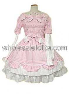 Pink Long Sleeves Bow Pleated Cotton Sweet Lolita Dress