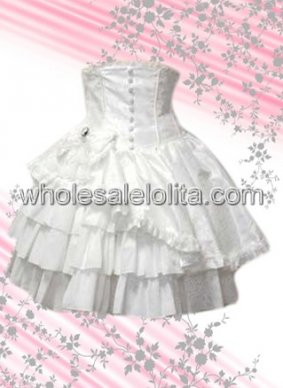 White Asymmetrical Multilayer Cotton Lolita Skirt