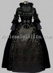 Deluxe Gothic Black Jacquard Pleuche Renaissance Queen Costume/Carnival Themed Costume