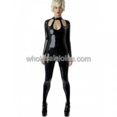 Sexy Cut Out Women's Black Latex Catsuit Back Zipper