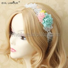 Fresh Lace Flowers Ring Headband Masquerade Accessories