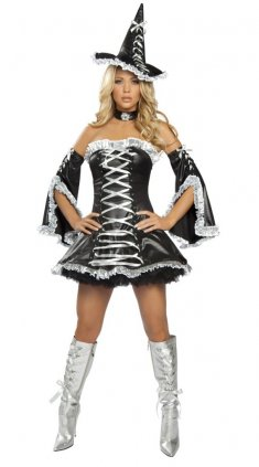 Adult Black and White Strapless Witch Costume