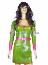 Olive Green Latex Army Uniform with Hot Pink Belt