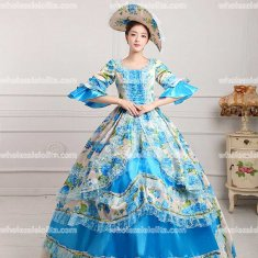 18th Century Rococo Style Marie Antoinette Inspired Prom Dress Wedding Ball Gown BLUE