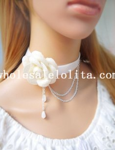 Beautiful White Collar Choker Pendant Necklace with White Rose for Bridesmaid