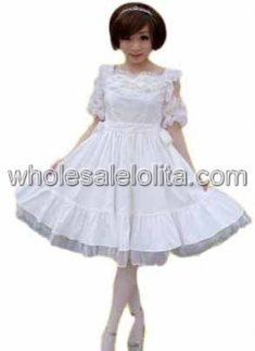 White Cotton Multilayer Lace Lolita Dress
