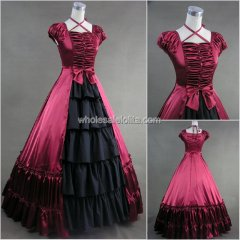 Burgundy Black Cap Sleeve Victorian Lolita Dress Southern Belle Prom Gown