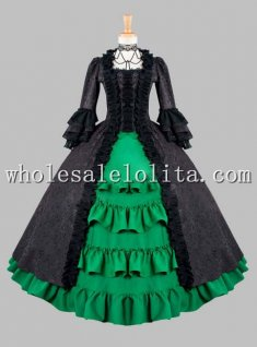Gothic Black and Green Cotton Brocade Victorian Dress Halloween Masquerade Ball Costume