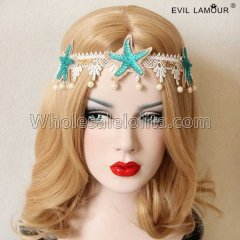 Lace Starfish with Pearl Headband Masquerade Accessories