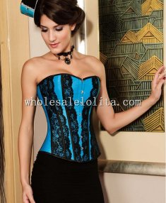 Blue and Blue Lace Strapless Corset