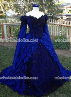Gothic Blue and Black Sleeping Beauty Princess Medieval Fantasy Gown Custom Color and Size