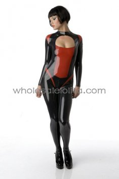 Gothic Black and Red Sexy Bust Cut Out Latex Catsuit