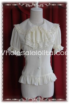 Ladies Creamy White Chiffon Big Bow Tie Short Sleeves Lolita Blouse