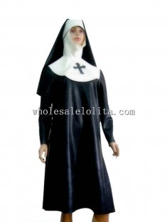Latex Rubber Nun Uniform Dress with Hood