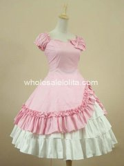 Pink Puff Sleeves Ruffles Classic Lolita Dress