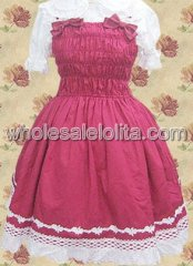 Short Sleeves Bow Netting Lace Cotton Sweet Lolita Dress