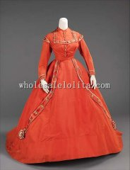 1865 American Silk Civil War Victorian Afternoon Dress