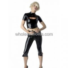 Two Pieces Black Latex Top & Pants with Belt