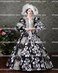 Renaissance Colonial Gothic Period Floral Jane Austen Dress Gown Princess Clothing