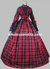 Civil War Black & Red Blend Tartan and Cotton Plaid Victorian Day Dress Ball Gown