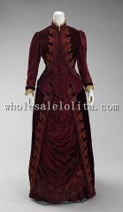 1885 French Culture Luxury Silk Late Victorian Bustle Dress