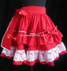 Sweet Red Bow Layered Lolita Skirt