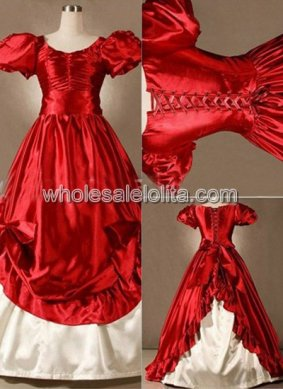 Princess Red Satin Victorian Lolita Wedding Southern Belle Masquerade Ball Gown