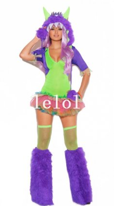 Female Monster Cosplay Faux Fur Animal Halloween Costume