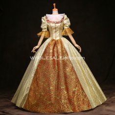 Historical Royal Court Gold Baroque Inspired Ball Gown Wedding Prom Dress Reenactment Clothing