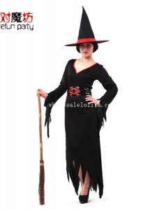2014 Halloween Witch Cosplay Costume Black Fancy Party Dress
