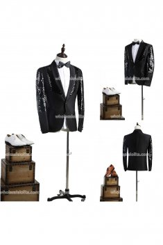 Customized Mens Black Palace Suits Party Costume