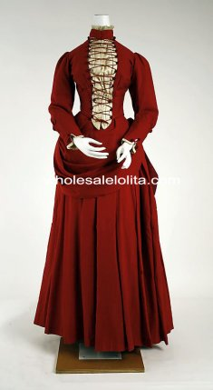 1887 American Metropolitan Victorian Bustle Period Dress Reenactment Clothing