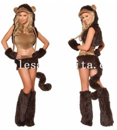 Naughty Adult Lady Monkey Cosplay Faux Fur Animal Halloween Costume