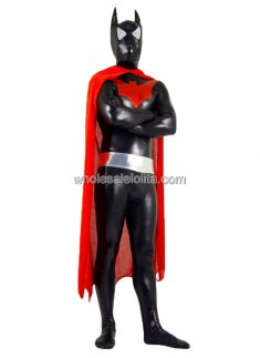 Black Glueing Batman Costume with Red Cap