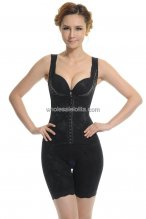 Black Embroidery Open Bust Mid-Thigh Bodysuit Shapewear