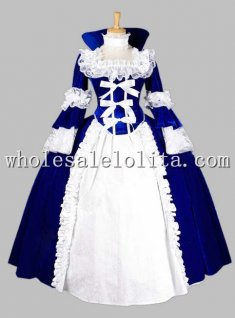 Deluxe Gothic Blue and White Renaissance Queen Costume/Carnival Themed Costume