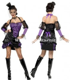 Ladies Purple Spider Demon Halloween Vampire Costume