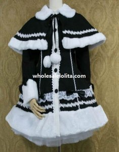 Sweet Black and White Wool Lolita Coat with Detachable Cape