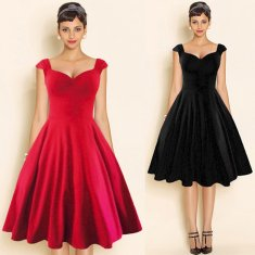 Top Sale Summer Style Retro Audrey Hepburn Vestidos Woman Vintage Dress Big Swing Black Backless Rockabilly Plus Size Dresses
