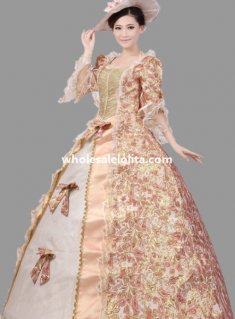 Historical Royal Court Floral Marie Antoinette Period Dress Theatre Clothing N1