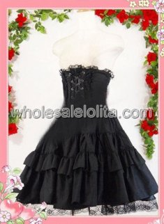 Black Multilayers Cotton Lolita Skirt with Bandage up back