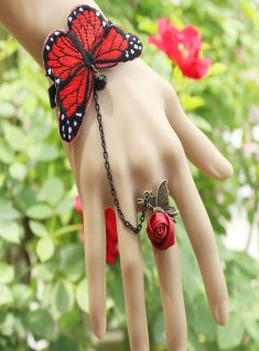 Gothic Red Butterfly Lace Lolita Bracelet