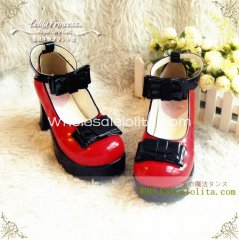 Gothic Black & Red Bows 7.5cm Chunky Heel Round Toe Spring Lolita Shoes