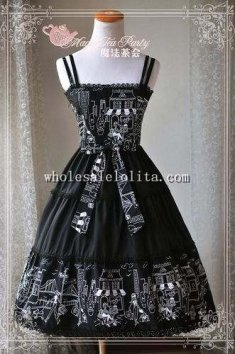 Magic Tea Party Afternoon Town Printing Black JSK Lolita