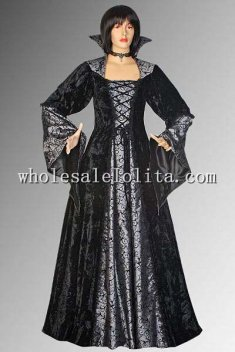 Medieval Gothic Inspired Black Velvet Vampire Dracula Elegant Dress Multiple Colors Available