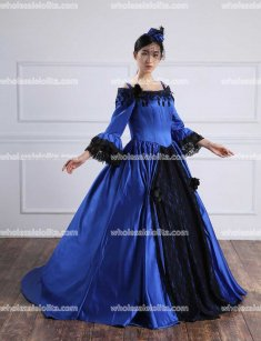 Victorian Wedding Dress/18th Century Blue Ball Gown